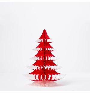 Paper Tip Tree Christmas Decoration in Red 25cm