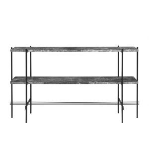 TS Double Rack Console Grey Marble & Black Base