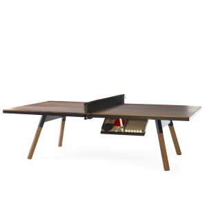 You & Me Indoor Ping-Pong Table in Black & Walnut