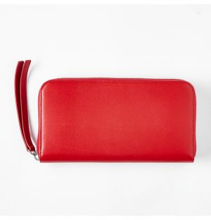 Leather Continental Purse Red