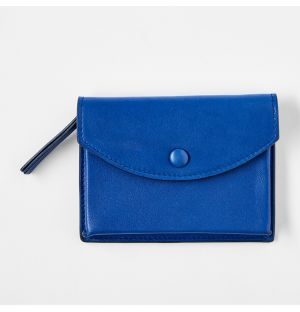 Leather Zipped Coin Purse Blue