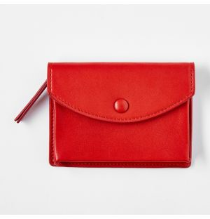 Leather Zipped Coin Purse Red