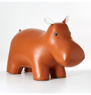 Hippo Doorstop Tan & White