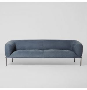 Rondo 3-Seater Sofa Old Velvet Leather Petrolio