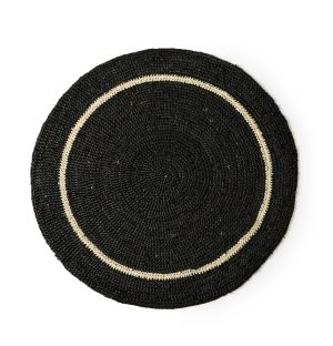 Round Placemat in Black & Natural