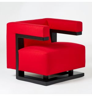 F51 Armchair Black Ash & Red