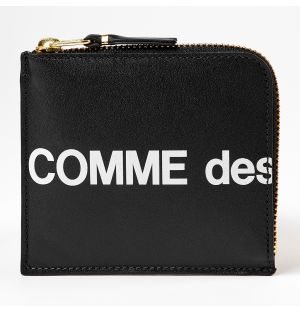 Huge Logo Zip Corner Wallet Black