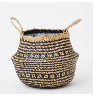 Small Seagrass Tribal Basket in Black