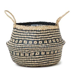 Large Seagrass Tribal Basket in Black
