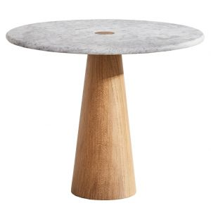 Brimstone Side Table Oak & Carrara Marble Large