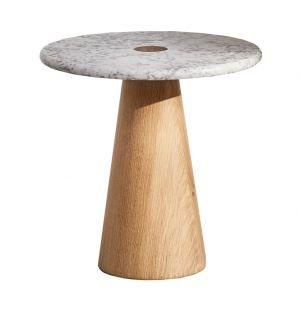 Brimstone Side Table Oak & Carrara Marble Small