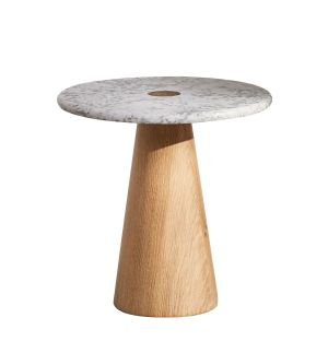 Small Brimstone Side Table in Carrara Marble & Oak