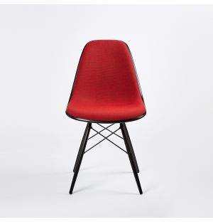 DSW Plastic Side Chair Black Maple & Hopsak Upholstery