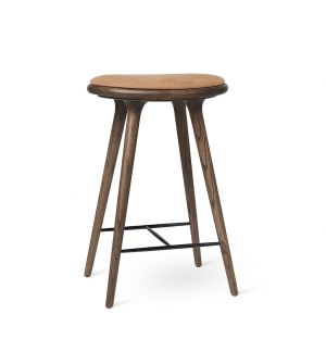 High Stool Dark Stained Oak & Camel Leather 69cm