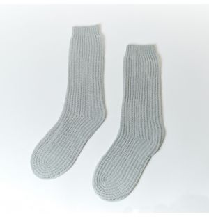 Cashmere Luxe Ribbed Bed Socks in Pumice