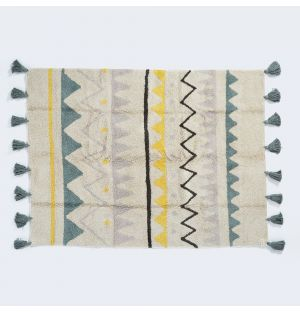 Azteca Washable Vintage Rug Natural & Blue