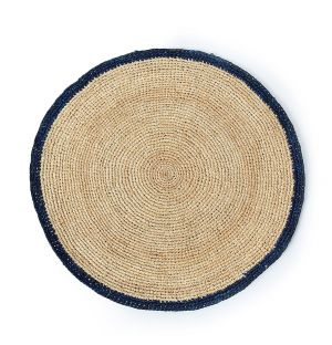 Round Placemat in Blue & Natural