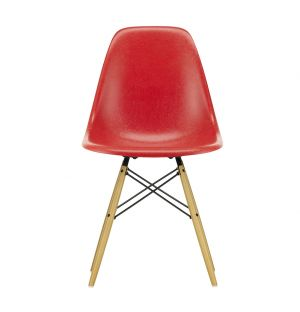 DSW Fiberglass Side Chair in Classic Red & Golden Maple