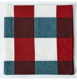 Linen Napkin in Red & Blue Check