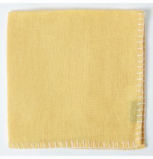 Contrast Stitch Linen Napkin in Yellow & White
