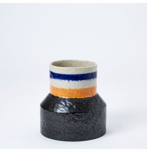 Speckle Stripe Vase in Blue, Yellow & Black