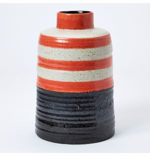 Speckle Stripe Vase in Red, White & Black