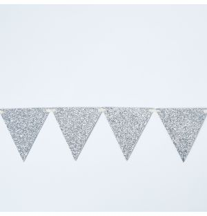 Glitter Flag Garland in Silver
