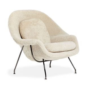 Limited Edition Womb Relax Armchair in Moonlight & Black Chrome
