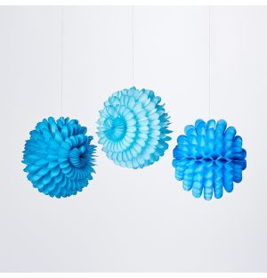Small Ruffled Ball Christmas Decorations in Blue Set of 3