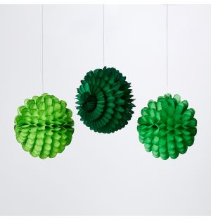 Small Ruffled Ball Christmas Decorations in Green Set of 3