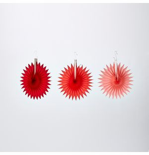 Star Fan Christmas Decorations Reds Set of 3