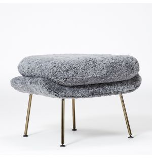 Limited Edition Womb Ottoman Scandinavian Grey & Black Chrome