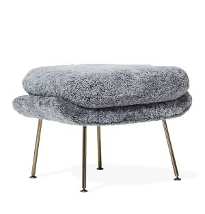 Limited Edition Womb Ottoman in Scandinavian Grey & Black Chrome