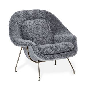 Limited Edition Womb Relax Armchair in Scandinavian Grey & Black Chrome