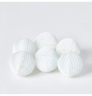 Paper Ball Present Decorations in White Small Set of 6
