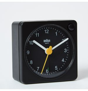 Updated Classic Analogue Travel Alarm Clock in Black