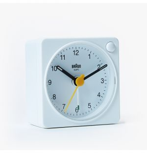 Updated Classic Analogue Travel Alarm Clock in White