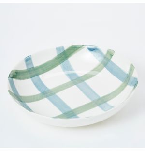 Pintura Thick Checked Pasta Bowl in Blue & Green