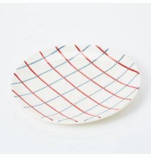 Pintura Thin Checked Side Plate in Blue & Red