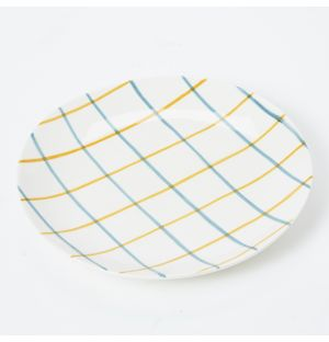 Pintura Thin Checked Side Plate in Blue & Mustard