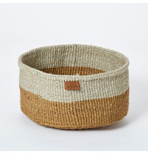 Small Colour Block Basket in Natural