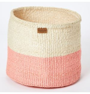 Medium Colour Block Basket in Dusty Pink