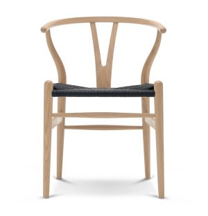 CH24 Wishbone Chair Wooden Frame & Black Paper Cord Seat