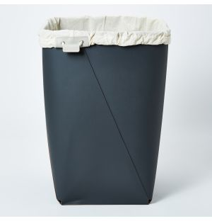 Leather Laundry Bin with Liner in Grey