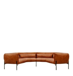 Otto Crescent Sofa in Tan Leather