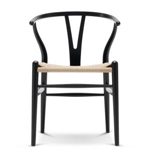 CH24 Wishbone Chair in Black Ash & Natural Paper Cord