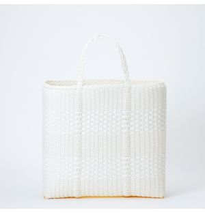 Large Basket Tote in White