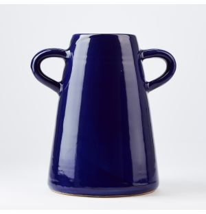 Tall Round Handles Vase in Blue