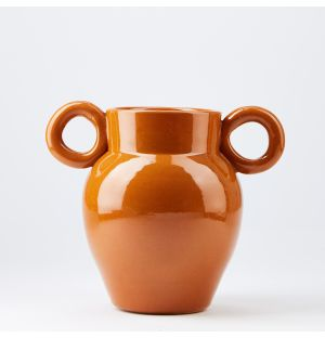 Small Round Handles Vase in Glazed Terracotta