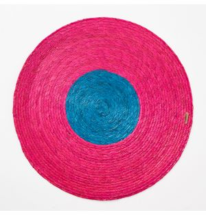 Block Round Woven Placemat in Pink & Turquoise
